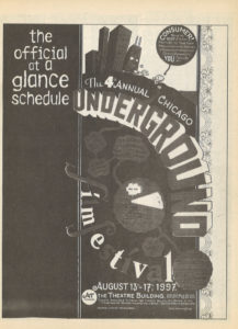 First page of the 4th annual Chicago Underground Film Festival schedule as printed in the magazine Lumpen, vol. 6 no. 4