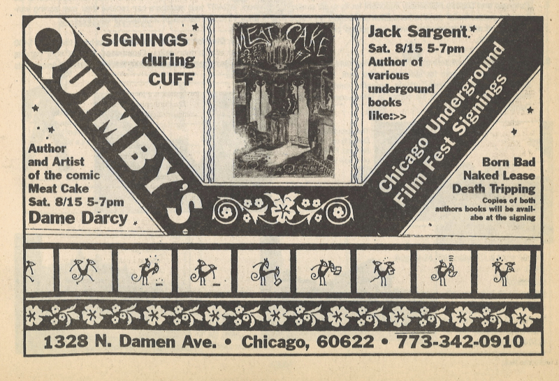 Magazine advertisement for Jack Sargeant and Dame Darcy book signing at Quimby's bookstore in Chicago