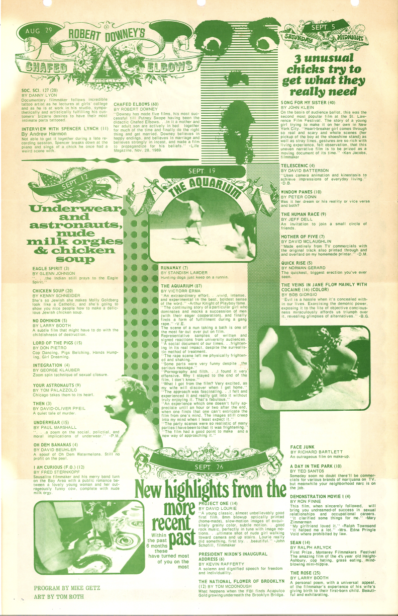 Reverse side of poster for midnight screenings of underground films in Ohio in August and September 1970