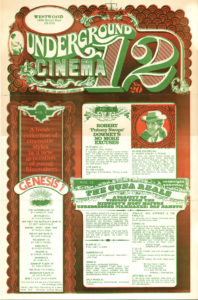 Movie poster for midnight screenings of underground films in Ohio in August and September 1970
