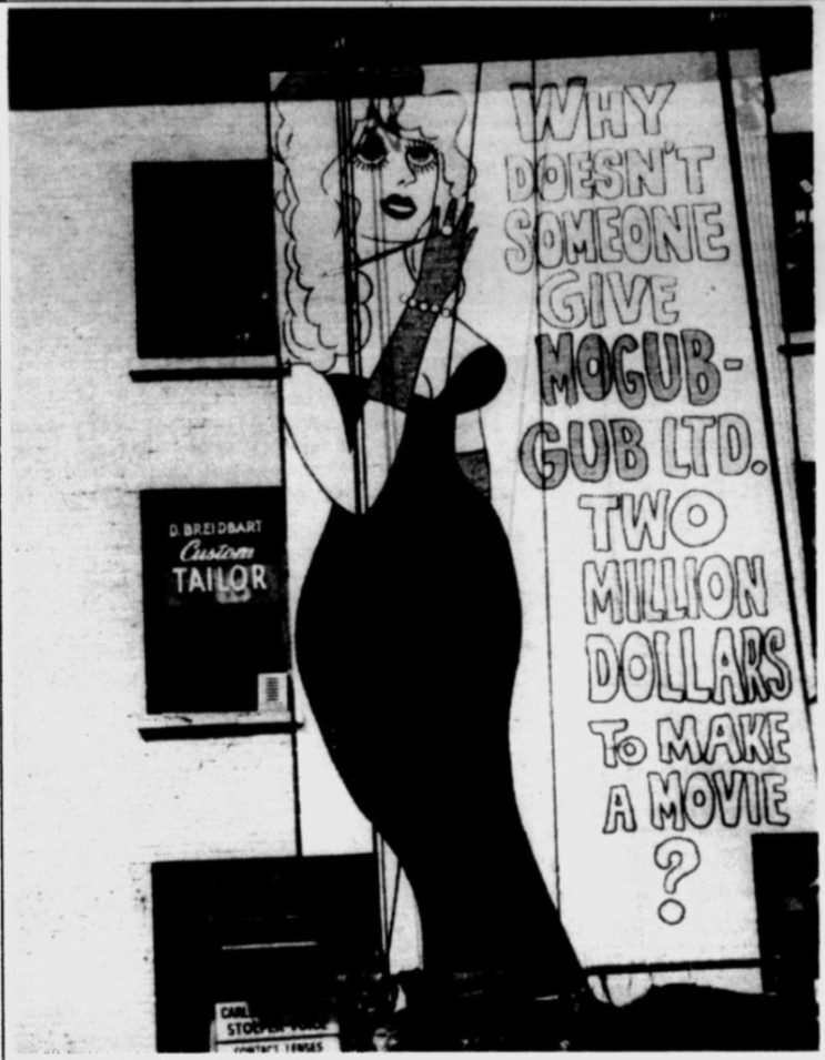 Mural featuring a drawing of a wealthy woman wearing an evening gown and some text