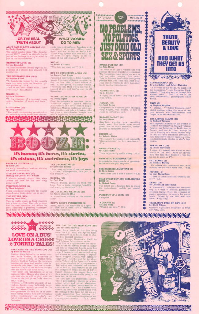 Calendar for underground film screenings featuring a drawing by Robert Crumb