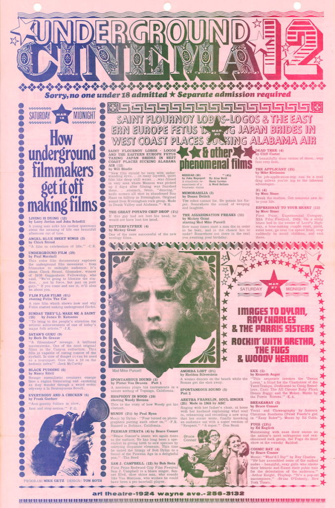 Calendar for underground film screenings featuring images of a hippie and a woman holding a movie camera