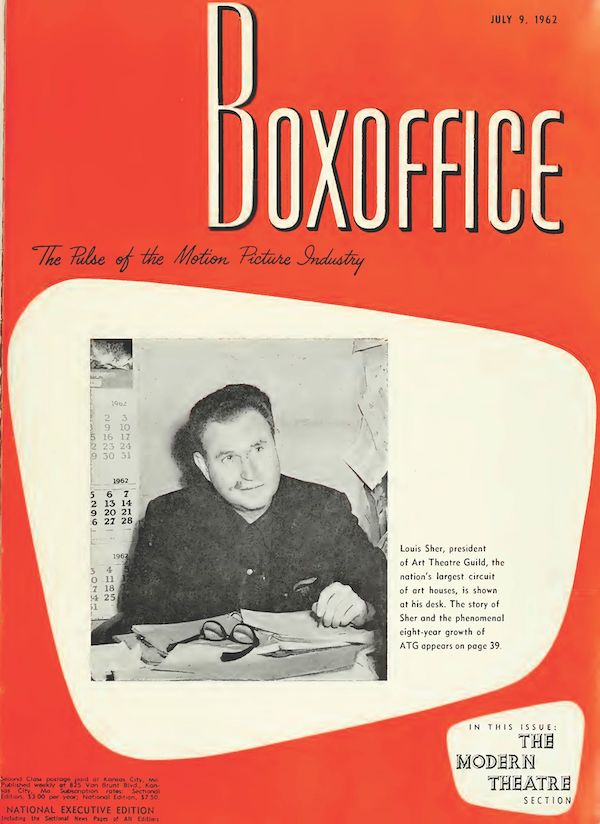 Cover to Boxoffice Magazine featuring a photograph of theatre magnate Louis Sher