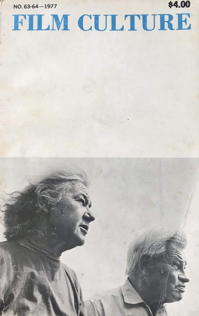 Cover of Film Culture 63-64 with Marie Menken and Willard Maas